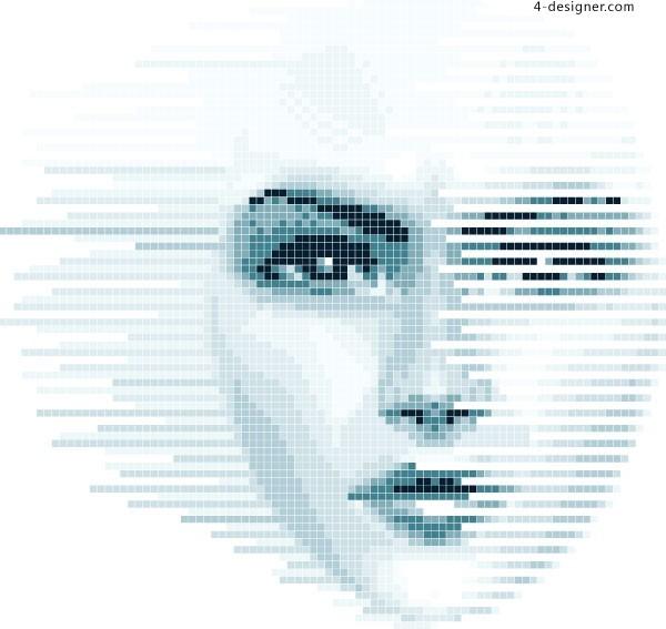 Mosaic-women-face-vector-material-60838